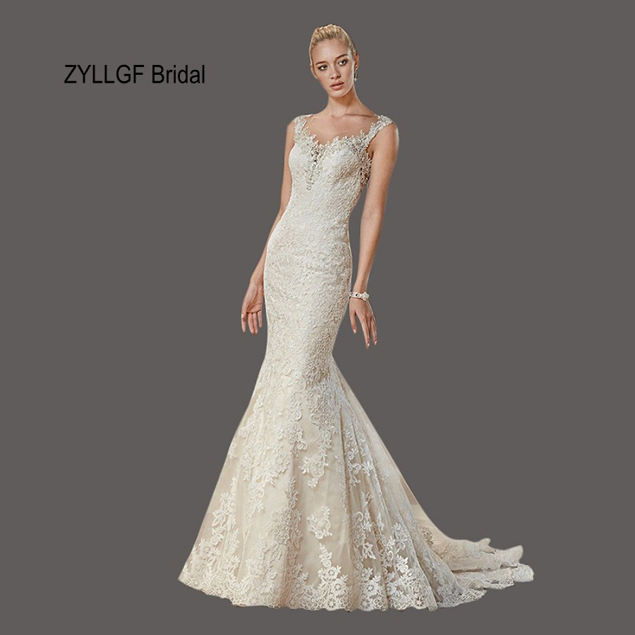 Zyllgf Bridal Mermaid Sexy See Through Vestido Novia Encaje