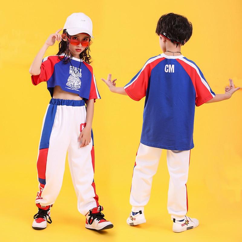 Child Cool Hip Hop Clothing Sweatshirt Top Crop T Shirt Running Casual Pants For Girls Boys Dance Costume Ballroom Clothes Wear