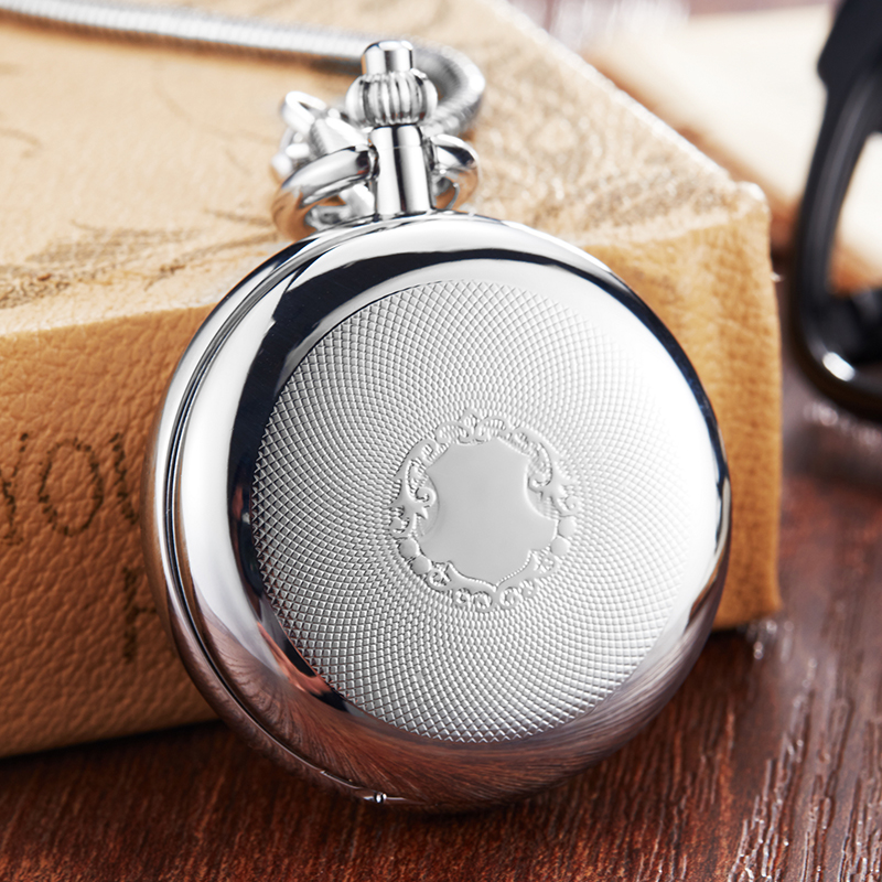 Luxury Copper Silver Mechanical Pocket Watch Hand Winding Clock Fob Chain Watch Men Roman Numeral Skeleton Clock