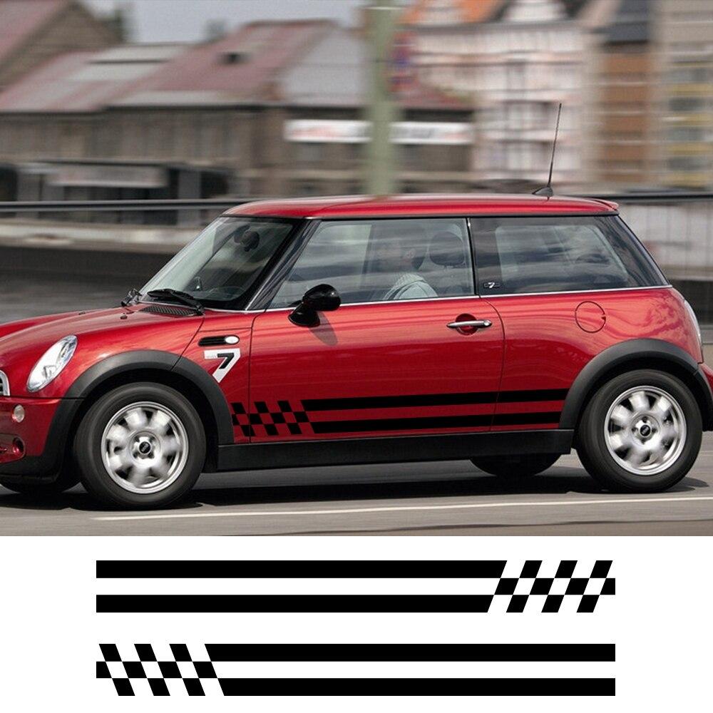 Listras carro Porta Lateral Saia de Vinil Adesivo Decalque Para Mini Cooper Um JCW S R60 R55 R56 R61 F55 F56 f54 F60 Compatriota Carro Styling