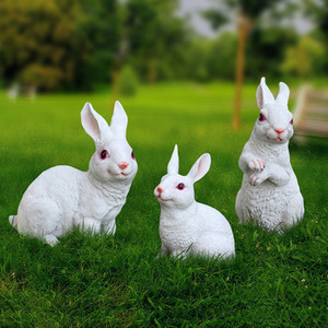 Image 1 - Figuritas de conejo de resina para decoración de jardín, patio de arte al aire libre, adorno de figuritas de animales para jardín