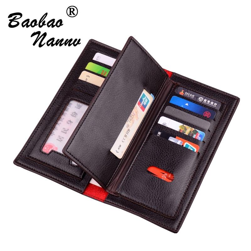 Business Long Men Wallet Vertical Leather Purse Male Clutch Wallets Men Women Money Card Holder Pocket Multifunction Top Quality