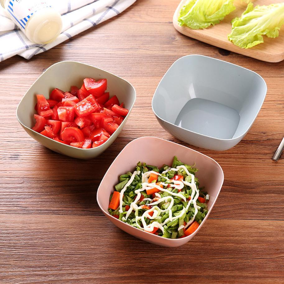 3 Color Food-Grade Plastic Salad Bowl Kitchen Square Tableware Fruit vegetable Plate Snack Candy Salad Bowl Dish Basket