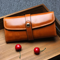 Fashion Women Genuine Leather Wallets Ladies Oil Wax Cowhide Long Style Purse Hasp Female Money Clips Gift Box 3 Color JZ3641