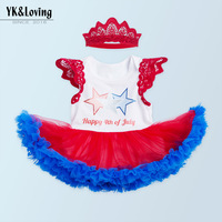 EMS DHL Free Kids Baby Girls Infants Summer Stripe Star Dress Lace Head Band American 4th