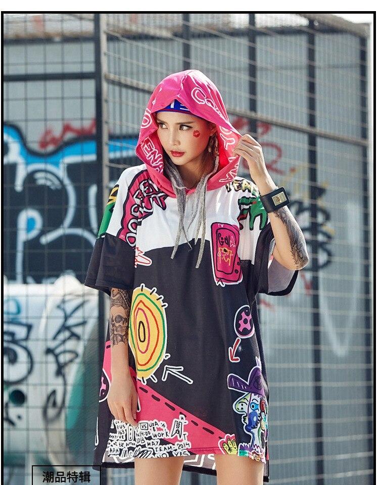 2018 Summer New Harajuku Funny Printed Long T Shirts For Women Hooded Tee Shirts Women Tops Hip Hop Streetwear Dance Clothe