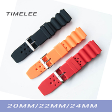 20mm 22mm 24mm Soft Sport Black Silicone Rubber Watch Strap Waterproof & 2 Spring Bars