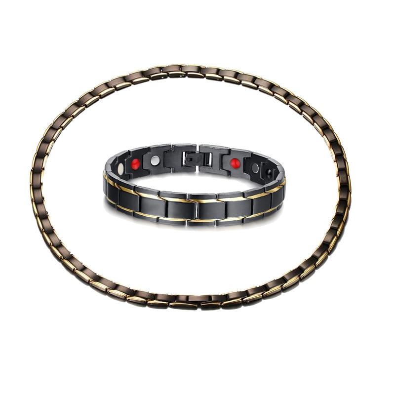 купить Fashion Mens Magnetic Necklaces Bracelets Sets in Black Stainless Steel Health Energy Magnetic Ion Germanium Necklace Bracelet по цене 2522.03 рублей