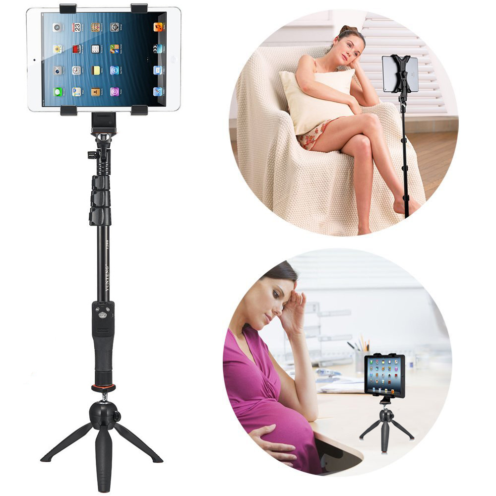 Bluetooth Remote Shutter Stick Teleskopický Yunteng Tripod Self Monopod + držák telefonu pro S8 Plus NOTE S7 Pad / Most Tablets Tabletop