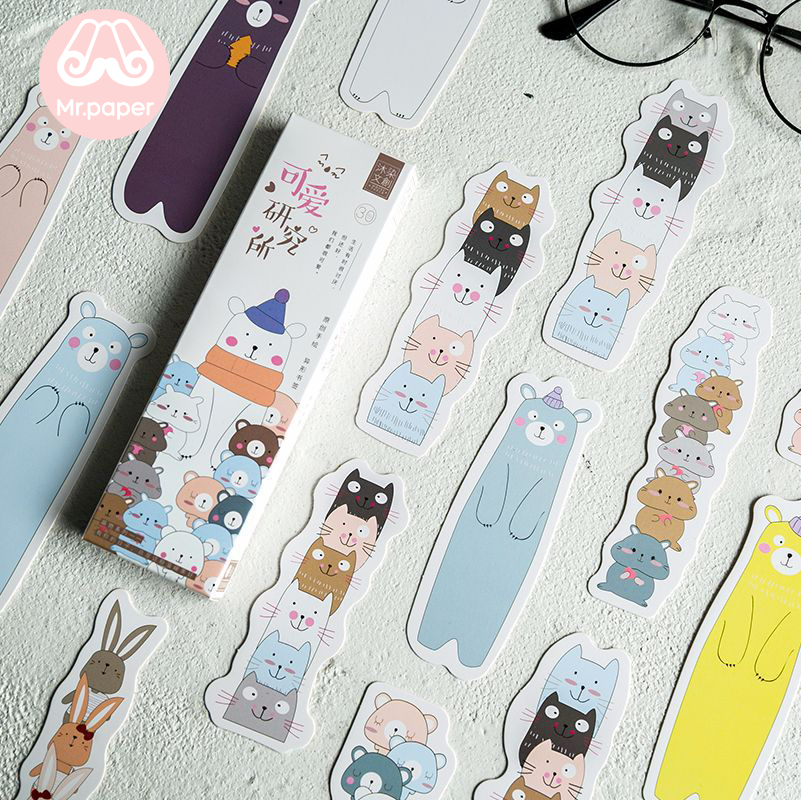 Mr Paper 30pcs/box Lovely Animal Rabbit Kitty Polar Bear Irregular Bookmarks For Novelty Book Reading Maker Page Paper Bookmarks