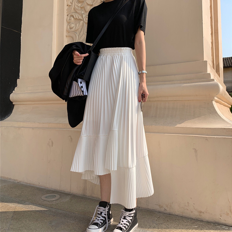2019 Summer Long Skirts Womens High Waist Asymmetrical Pleated Skirt Harajuku Plus Size White Black Skirt Faldas Jupe Femme