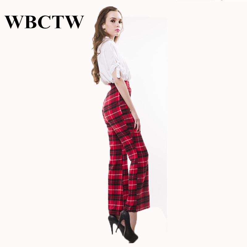 971d544fbf82a WBCTW Cotton Line Pants Elegant XXS 10XL Plus Size High Waist Fashion  Holiday Party Outfits Loose Sexy Plaid Women Trousers 2018-in Pants   Capris  from ...