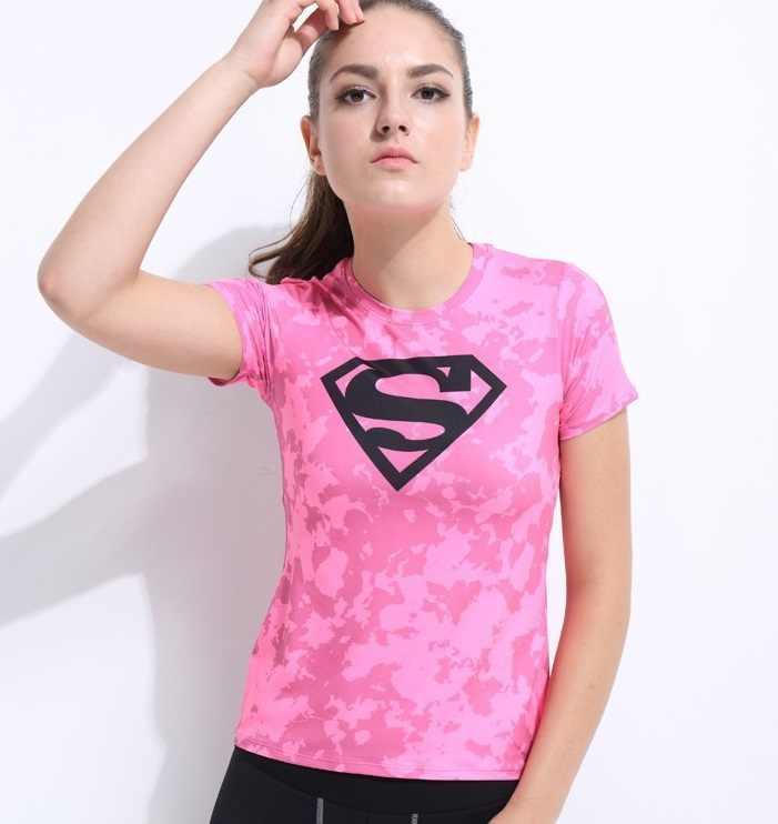 ef2a393956 ... New Women Superman Tops Shirts Compression T Shirt Superhero Fitness  Tights Under Tees Camiseta Feminina ...