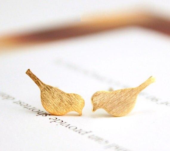 Hfarich Earrings Gold New Tiny Cute Bird Stud Earrings for Women Best Gift EY-E090