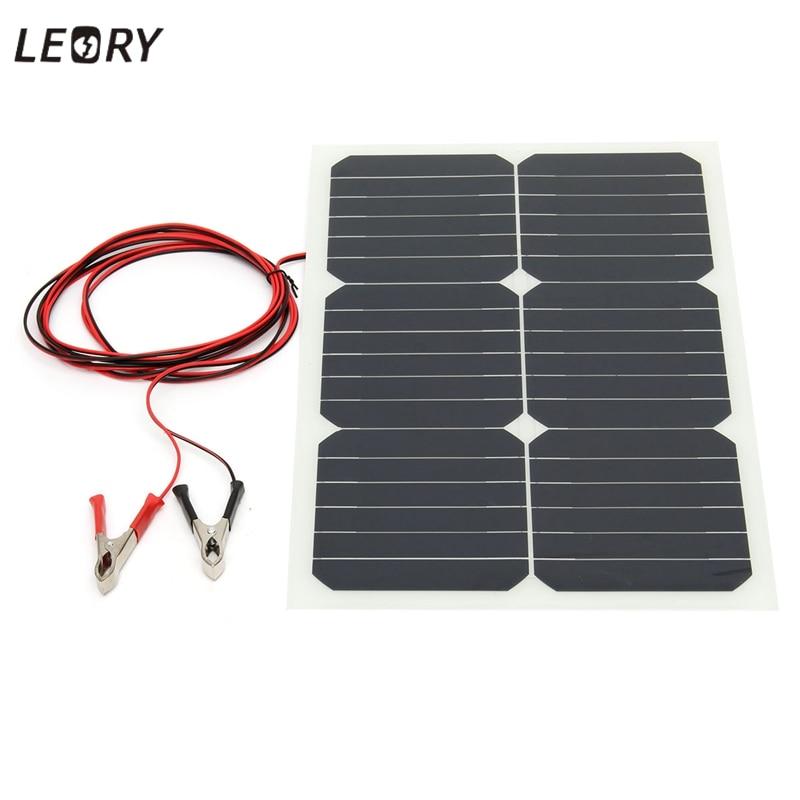 LEORY 20 W 12 V panneau solaire énergie Semi Flexible monocristallin soleil puissance pour RV voiture bateau chargeur de batterie cellules solaires Module + puce