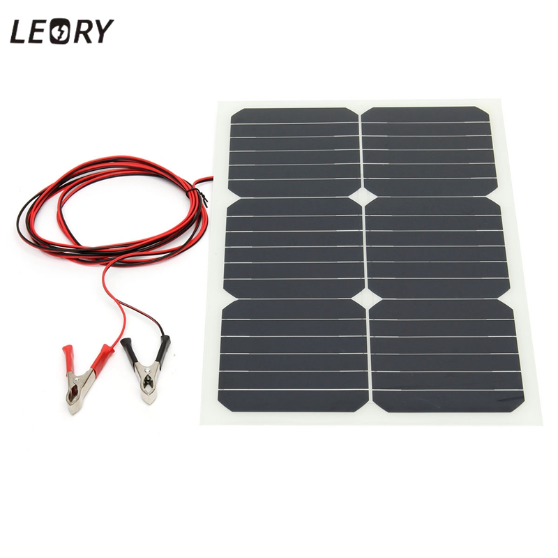 LEORY 20W 12V Solar Panel Energy Semi Flexible Monocrystalline Sun Power For RV Car Boat Battery Charger Solar Cells Module+Chip leory 12v 4 5w solar panel portable monocrystalline solar cells power charger diy module battery system for car automobile boat