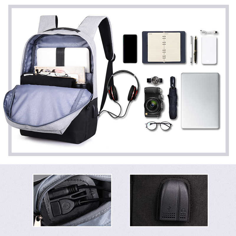 Men Fashion Backpacks High Quality Oxford Backpacks For Teenager Students School Bags USB Chargeable Anti-theft Backpacks B307