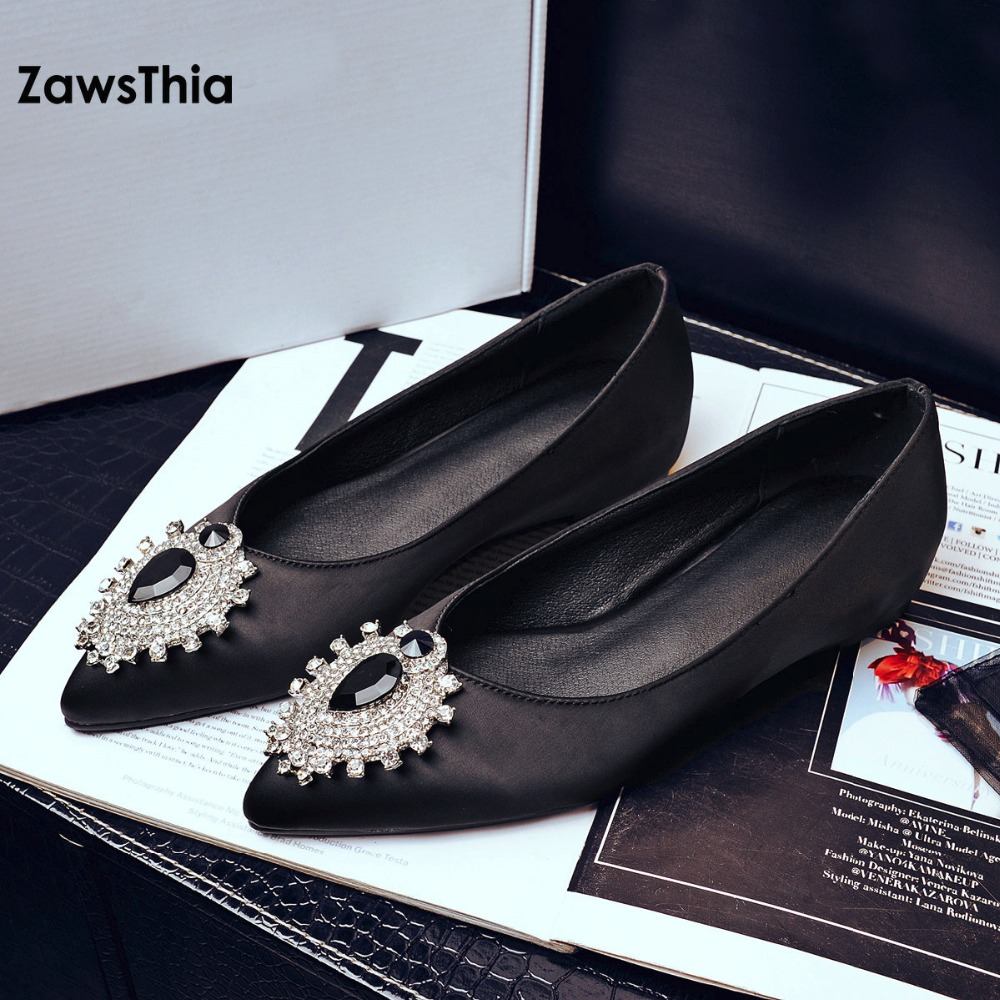 ZawsThia spring summer imitation fake silk satin pointed toe flats woman slip on loafers shoes women with crystal big size 42 10 xiaying smile woman flats women brogue shoes loafers spring summer casual slip on round toe rubber new black white women shoes