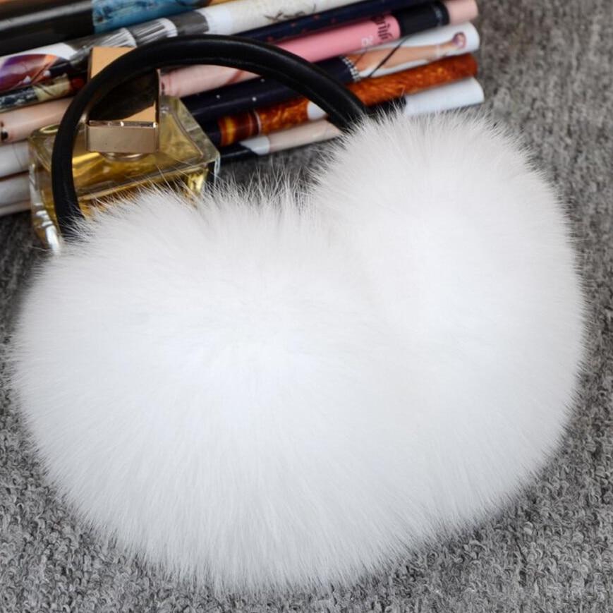 Justerbar !!! Elegant Fox Fur Winter Earmuffs til kvinder varme - Beklædningstilbehør