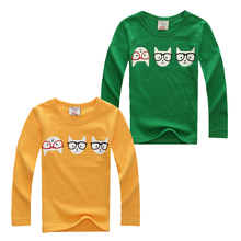 2015 Autumn child t-shirt boys girls child basic shirt cotton little cat lounge sleepwear long-sleeve T-shirt free shipping