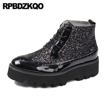 Oxford High Top Platform Wingtip Glitter Sneakers Shoes Men Black Patent Leather Boots Red Brogue Ankle Thick Soled Sole Booties