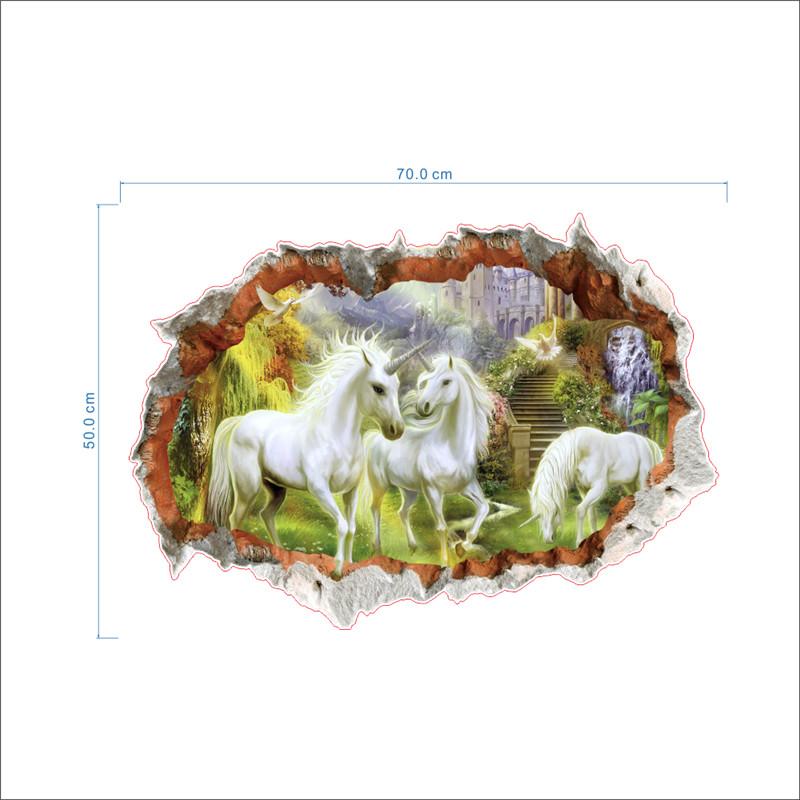 HTB1ufE7QFXXXXXpXVXXq6xXFXXXh - unicorn horse forset wall stickers creative 3d break the wall effect picture For Kids Rooms