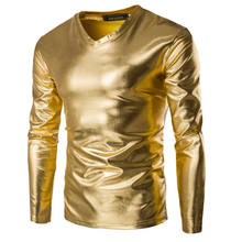 2472391f6b2 2018 Newest Men s Casual Shiny Slim Fit V-Neck Luxury Long Sleeve V-Neck  Glitter T-Shirts Tops