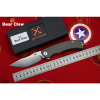 BEAR CLAW X CARVED Folding KnifeBall Bearing D2 Blade Titanium Handle Camping Hunting Outdoor Survive Pocket