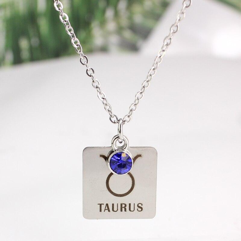 12 знаков зодиака Созвездия кулон ожерелье хрусталь камень ожерелье женщины друг подарок на день рождения ювелирные изделия из нержавеющей стали - Окраска металла: 6