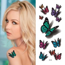 Hot Women's 3D Butterfly Water Transfer Tattoo Stickers Sex Products Colorful Waterproof Temporary Tattoo Fake