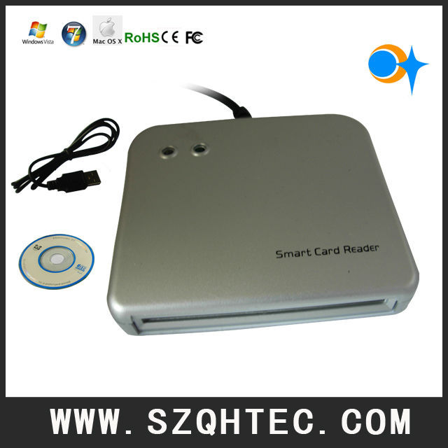 Free shipping  USB C-SMR-0005 Smart Card Reader Writer EMV chip card(ISO7816) Tags + 5pcs discount +1 drive CD