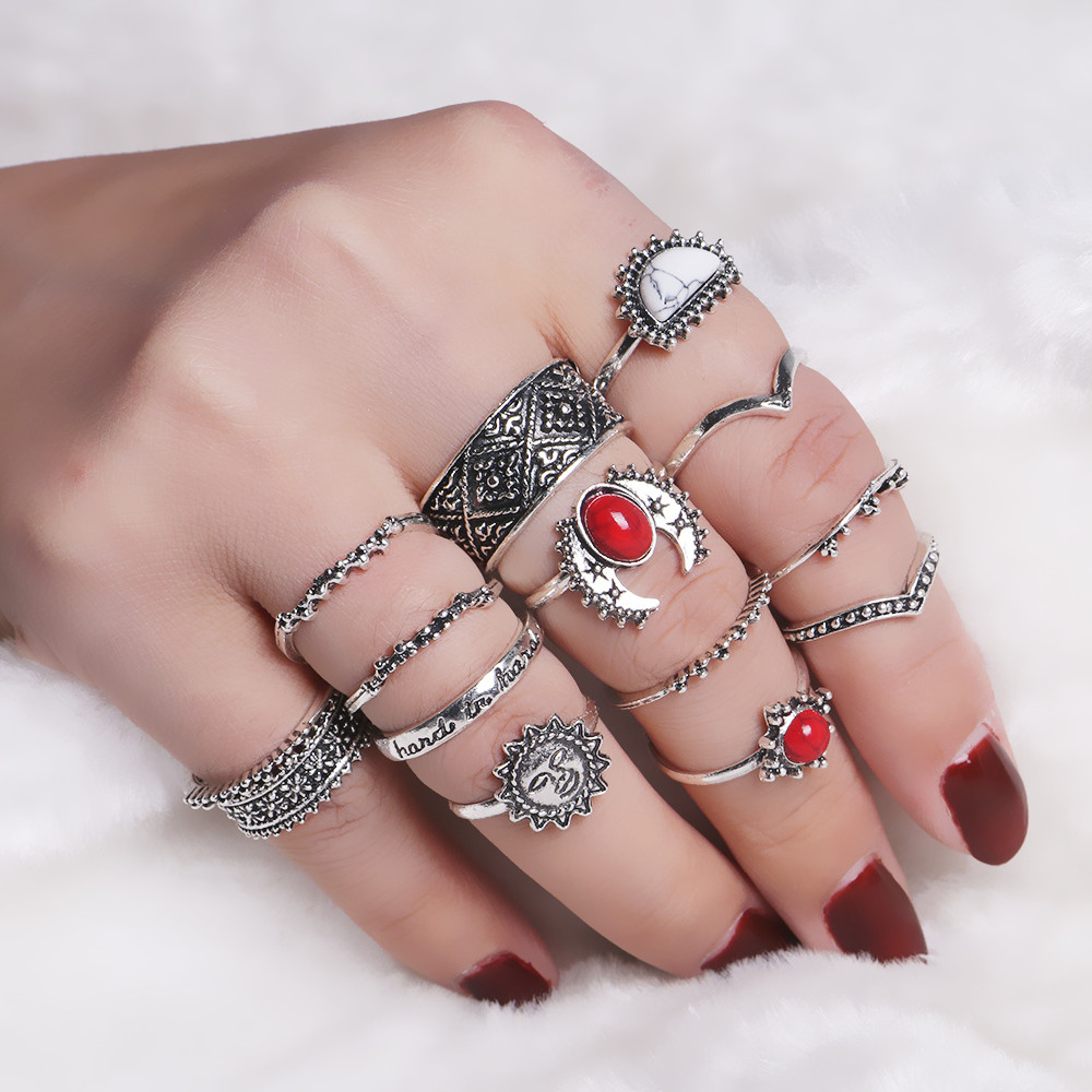 Women 14 PCS Vintage Simulated Stone Finger Ring Set Antique Gold Silver Hollow Out Bohemian Midi Ring Female Jewelry