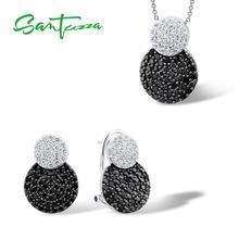 SANTUZZA Jewelry Set For Women Genuine 925 Sterling Silver Unique Shinny Black CZ Vintage Earrings Pendant Set Fashion Jewelry