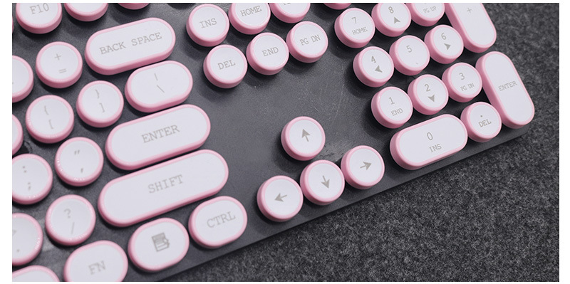 ABS USB Wired Typewriter Steam Punk Style Keyboard With Round Glowing Keycaps For PC Laptop 5