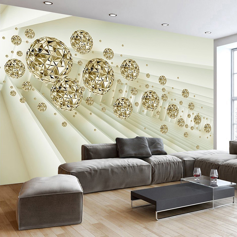 Custom Self adhesive Mural 3D Stereoscopic Space Golden Circle Ball Living Room Sofa TV Background Photo Wall Paper 3D Modern