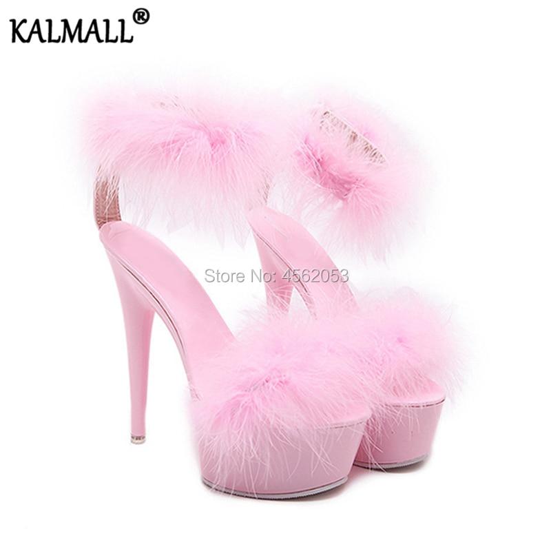 Fur Sandals Women High Heels