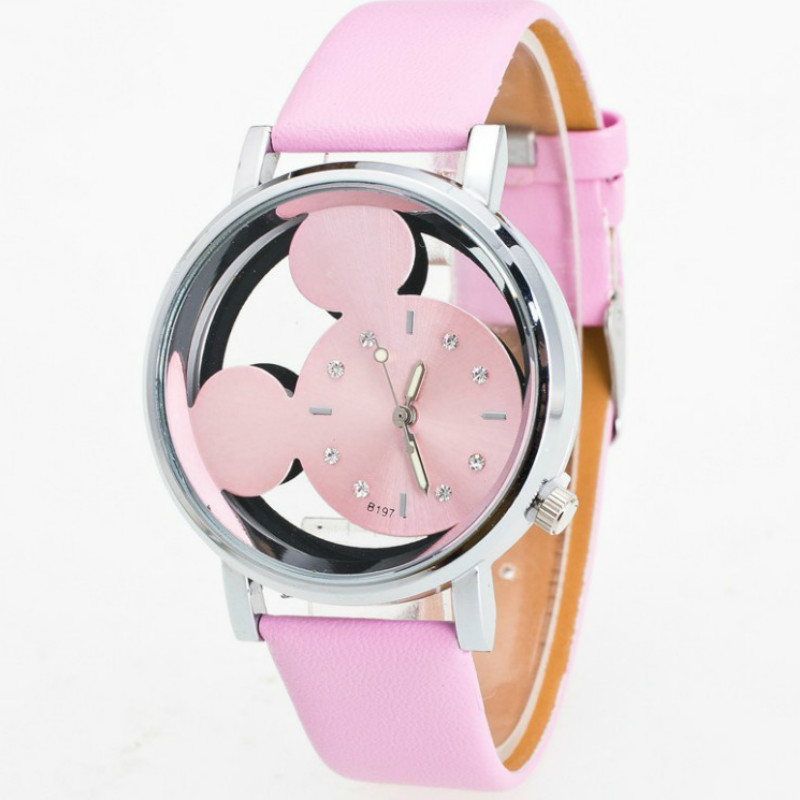 Popular Fashion  Simple Double-sided Hollow  Mickey Quartz Kids Watch  Student Cute Belt  Mouse Children Watch