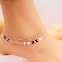 Simple Multilayer Handmade Chain Anklets for Women Barefoot Foot Bohemian Sequins Anklet Bracelet Jewelry