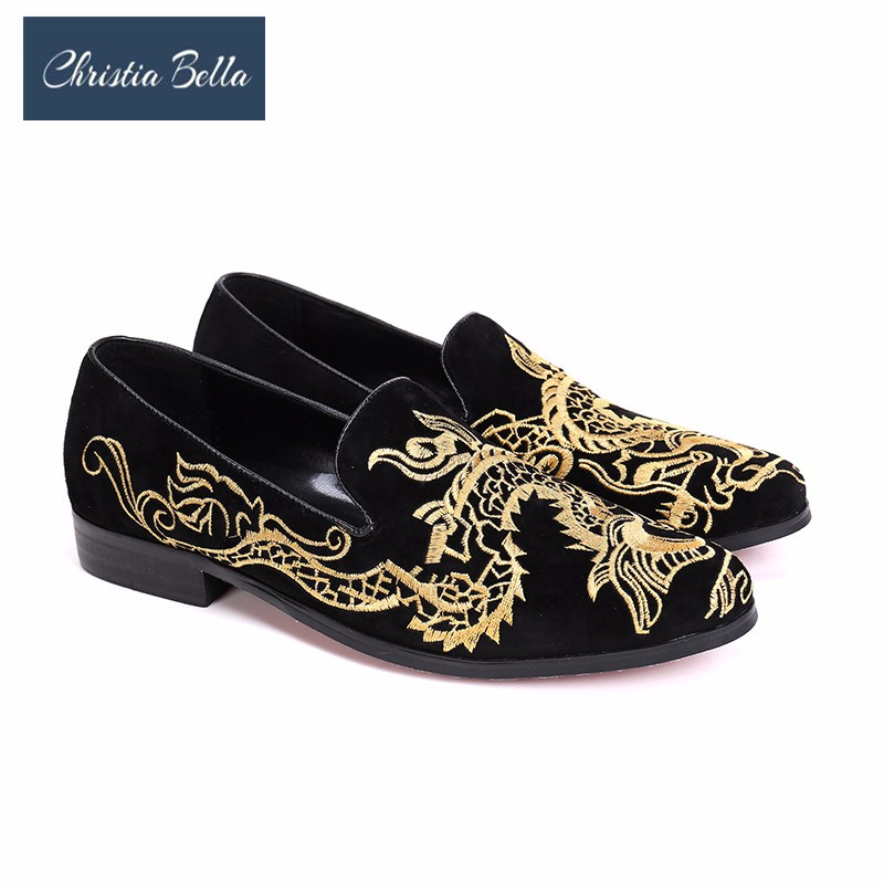Christia Bella New Vintage Dragon Embroidery Men Suede Leather Dress Shoes  Party Wedding Men Loafers Slip on Smoking Slippers 1b97edc781bb