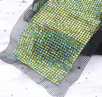 free shipping 24 rows green AB Crystal rhinestone mesh trimming chain Silver base White black fabric DIY sewing lace 5yards/roll