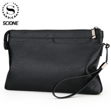 Scione Men's Clutch Bags for men Business Clutch PU Leather Hand Bag Male Long Money Wallets Mobile Phone Pouch Clutch Coin Purs