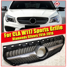 W117 Grille Diamonds Front Bumper Kidney Grills CLA Class CLA180 CLA200 CLA250 CLA45 look ABS silver Without Sign 2014-17