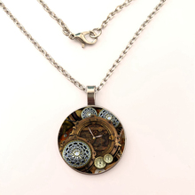 Mechanical Watch Fashion Jewelry Gifts For Women round Crystal Glass Pendant Necklaces Accessories gift цена и фото