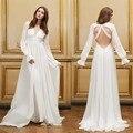 Simple V-Neck Long Sleeve Backless Beach Wedding Dress 2016 A Line Chiffon Vestido De Noiva Manga Longa