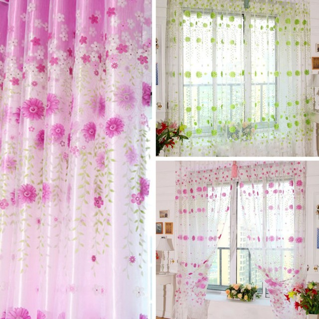 Pretty Floral Tulle Voile Door Window Curtain Drape Panel Sheer ...