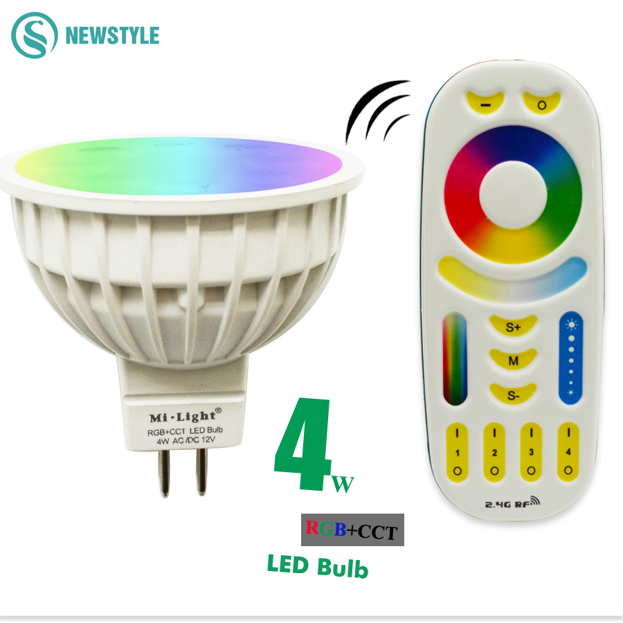 AC/DC12V 2.4G Wireless Milight Dimmable Led Bulb MR16 RGB+CCT Led Spotlight Smart Led Lamp+ LED Remote dc12v 2 4g wireless milight dimmable led bulb 4w mr16 rgb cct led spotlight smart led lamp home decoration
