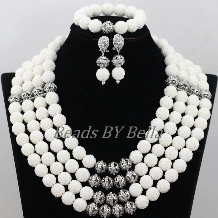 Perles de corail blanc pur ensembles de bijoux de mariée accessoires en argent plaqué mariage nigérian ensembles de bijoux africains livraison gratuite ABK095