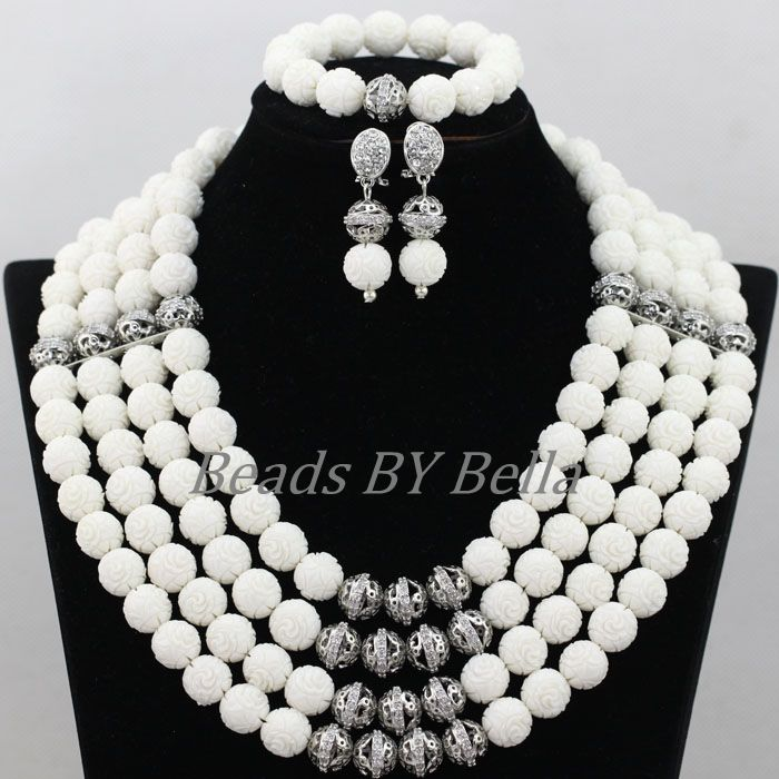 Pure White Coral Beads Bridal Jewelry Sets Silver Plated Accesories Nigerian Wedding African Jewelry Sets Free Shipping ABK095