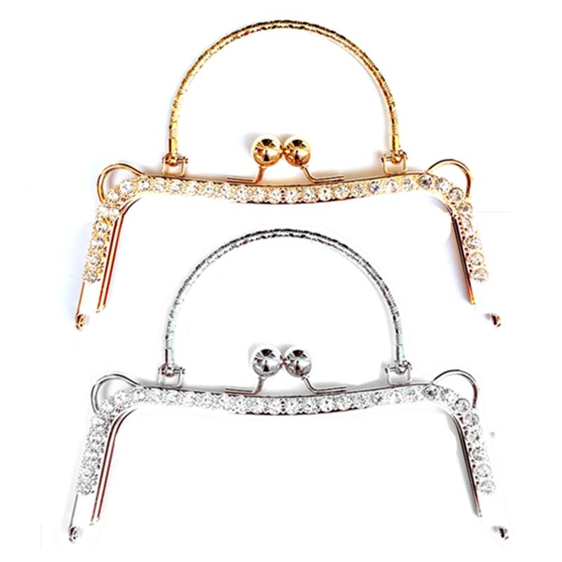 цена на 5Pcs Clear Rhinestones Classic Metal Buckle Kiss Clasps Lock Clutch Purse Bag Handbag Handle Findings 20cm
