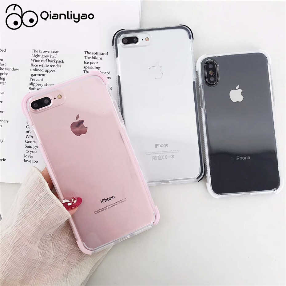 Qianliyao Anti-klop Shockproof Case voor iphone X XR XS Max soft TPU Cover Voor iphone 6 6s 7 8 plus 11 pro Max Beschermhoes